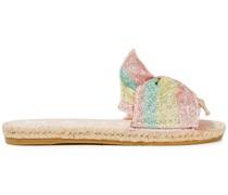 Miami Gestreifte Pantoletten aus Lurex® mit Glitter-finish und Knotendetail
