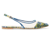 Violet Printed Canvas And Mesh Point-toe Flats Grün