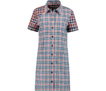 Plaid Cotton-poplin Shirt Dress Blau