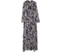 Ruffle-trimmed Printed Chiffon Maxi Dress