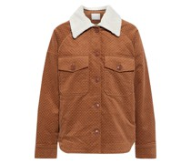 Draper Faux Shearling-trimmed Printed Cotton-blend Drill Jacket