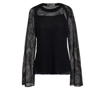 Pullover aus Leinen in Pointelle-strick