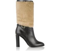 London Shearling-paneled Leather Boots Schwarz