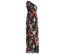 One-shoulder Pleated Printed Chiffon Gown