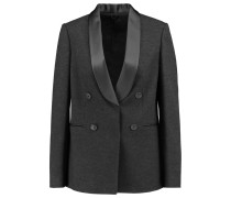 Double-breasted Wool, Cotton And Silk-blend Blazer Dunkelgrau
