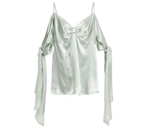 Cold-shoulder Knotted Draped Satin Top