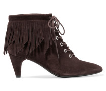 Fringed Suede Ankle Boots Dunkelbraun
