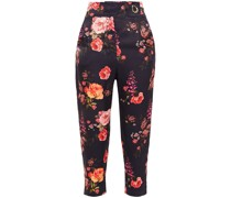 Carmen Cropped Floral-print Hammered-satin Tapered Pants