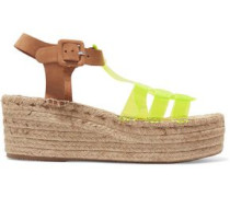 Neon yellow and suede espadrille wedge sandals