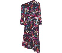 Lexie Asymmetric Printed Silk Crepe De Chine Dress