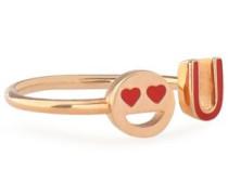 Rose gold-plated enamel ring