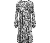 Printed Stretch-silk Dress Schwarz