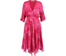 Rey Printed Silk-chiffon Dress Knallpink