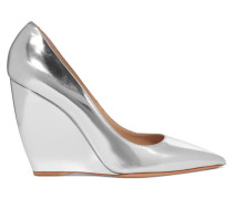 Lizy Metallic Leather Wedge Pumps Silber
