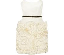 Rosette Ruffled Crepe De Chine Mini Dress Elfenbein