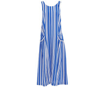 Cutout Knotted Striped Crinkled-jacquard Midi Dress