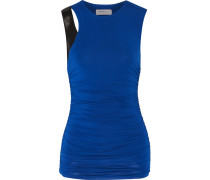 Faux Leather-trimmed Ruched Jersey Top Blau