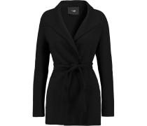 Belted Wool-blend Coat Schwarz
