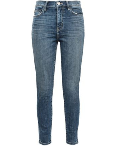 The High Waist Stiletto Faded High-rise Skinny Jeans Mid Denim  3