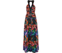 Sequin-embellished printed silk-chiffon gown