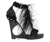 Feather-embellished Suede And Acrylic Wedge Sandals
