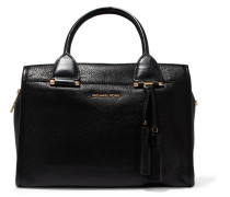 Geneva Textured-leather Tote Schwarz