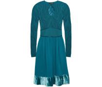 Velvet-trimmed Gathered Pointelle-knit Mini Dress