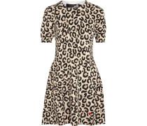 Leopard-print Stretch Cotton-blend Mini Dress Leoparden-Print