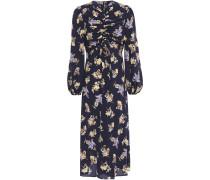 Ruched Floral-print Stretch-silk Midi Dress