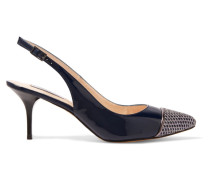 Cordelia Glitter Mesh-trimmed Patent-leather Pumps Mitternachtsblau