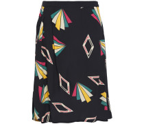 Ruched Printed Crepe De Chine Skirt