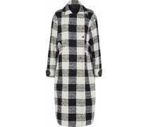 Woman Double-breasted Checked Cotton-blend Bouclé-tweed Coat White