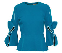 Woman Kemi Bow-embellished Stretch-crepe Peplum Top Turquoise