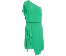Woman One-shoulder Draped Crepe De Chine Mini Dress Green