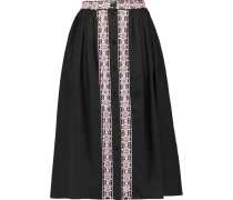 Magda Pleated Embroidered Midi Skirt Schwarz