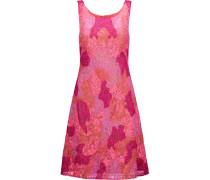 Embellished Embroidered Tulle Mini Dress Fuchsia