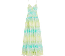 Gathered Printed Silk-crepe Maxi Dress Mehrfarbig