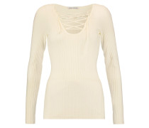 Lace-up Ribbed Merino Wool-blend Top Elfenbein