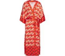 Dragonfly Printed Satin Kimono