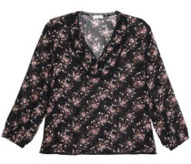Corded lace-trimmed floral-print georgette top