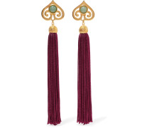 Gold-tone, Stone And Tassel Clip Earrings Burgunder