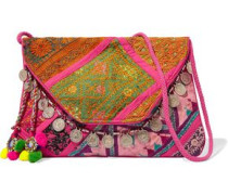 Embellished embroidered cotton wallet