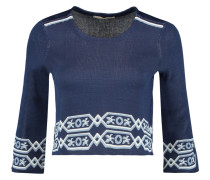 Mathieu Cropped Jacquard-knit Sweater Navy