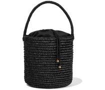 Woman Woven Toquilla Straw Bucket Bag Black