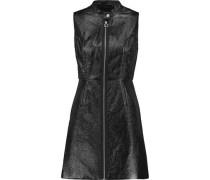 Coated textured cotton-blend mini dress