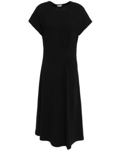 Sketsy Pleated Ribbed-knit Midi Dress Black