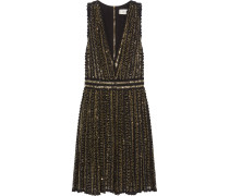 Beaded Crocheted Cotton Mini Dress Schwarz