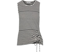 Columba Ruched Striped Cotton And Linen-blend Jersey Tank