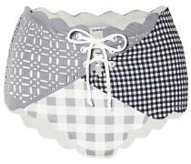 Wainscott Lace-up Scalloped Paneled Checked High-rise Bikini Briefs