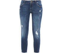 Woman Cropped Distressed Low-rise Skinny Jeans Mid Denim
